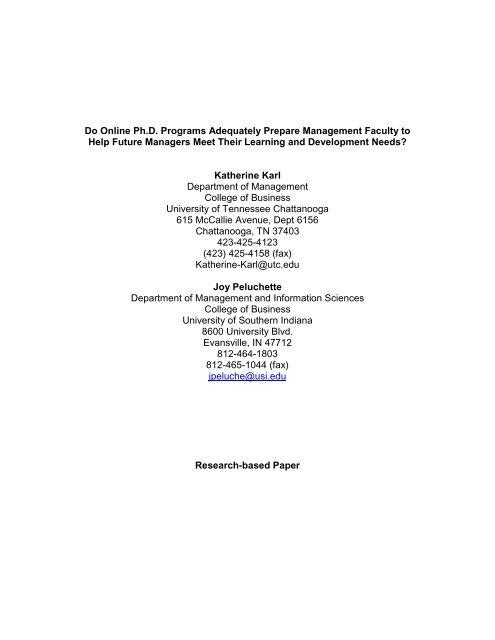 Do Online Ph D  Programs Adequately Prepare Management