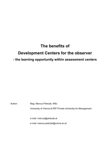 The benefits of Development Centers for the observer