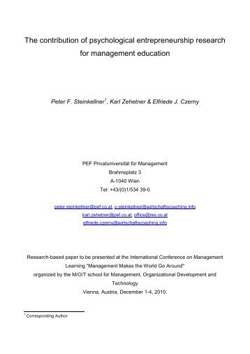 The contribution of psychological entrepreneurship research for ...