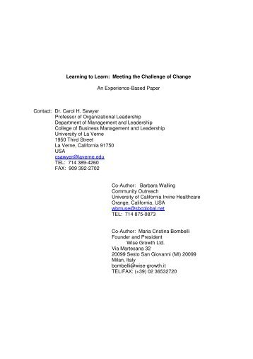Learning to Learn: Meeting the Challenge of Change An Experience ...