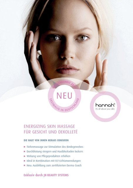 energizing skin massage für gesicht und dekolleté - JK-International ...