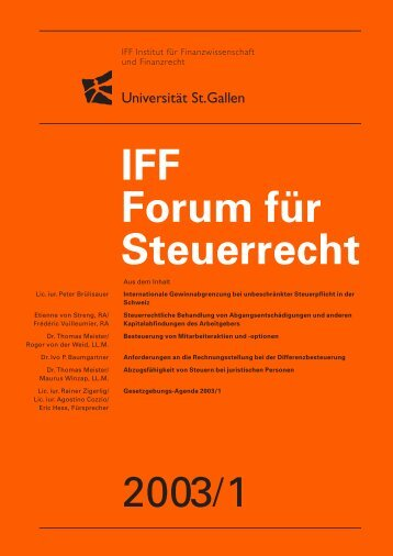 2003/1 IFF Forum für Steuerrecht - IFF - Universität St.Gallen