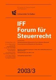 2003/3 IFF Forum für Steuerrecht - IFF - Universität St.Gallen