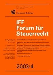 2003/4 IFF Forum für Steuerrecht - IFF - Universität St.Gallen