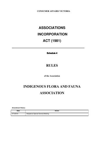rules - Indigenous Flora and Fauna Association