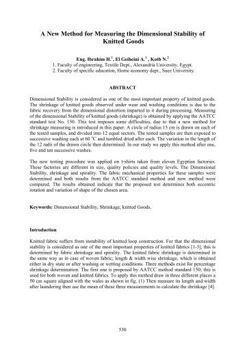 A New Method for Measuring the Dimensional Stability of Knitted ...