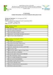 Confira os selecionados em 1ª Chamada - Instituto Federal Goiano