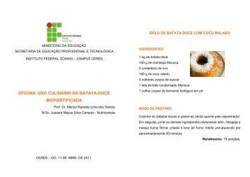 Livro de Receitas Batata-doce - Instituto Federal Goiano