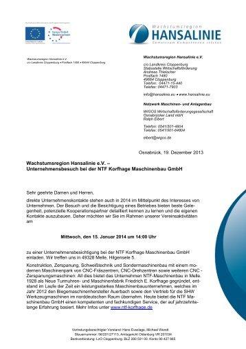 Unternehmensbesuch bei der NTF Korfhage ... - Hansalinie