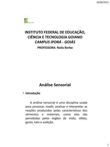 Análise Sensorial - Instituto Federal Goiano