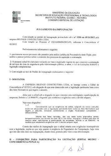 Resposta Impugnação – Bilenge Construtora - Instituto Federal ...