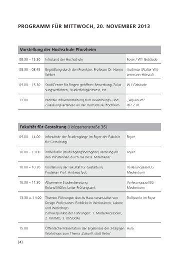 programm für mittwoch, 20. November 2013 - Hochschule Pforzheim