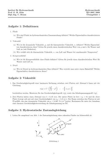 Aufgabe 1: Definitionen Aufgabe 2: Viskosität Aufgabe 3 ... - IfH