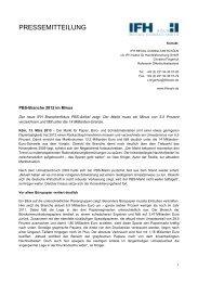 PBS-Branche 2012 im Minus - IFH Köln