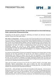 Zusammenarbeit besiegelt - IFH Köln