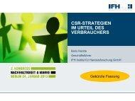 CSR Strategien im Urteil des Verbrauchers - IFH Köln