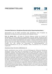 Smartphone-Dynamik sichert Gesamtmarktwachstum - IFH Köln