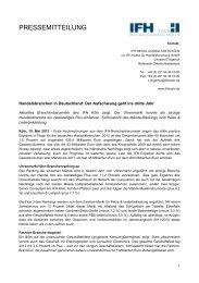 Handelsbranchen in Deutschland: Der Aufschwung geht ... - IFH Köln