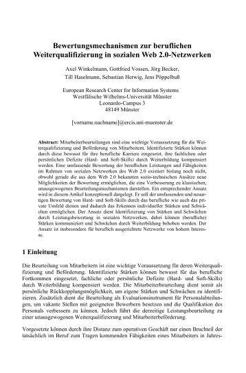 Bewertungsmechanismen zur beruflichen Weiterqualifizierung ... - ifib