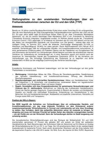 BIHK-Stellungnahme zum TTIP