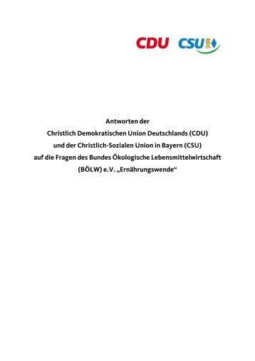 CDU/CSU - Bund Ökologische Lebensmittelwirtschaft