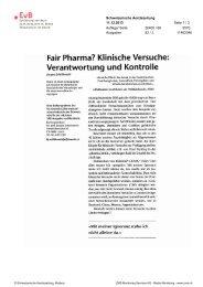 Klinische Versuche: Verantwortung und Kontrolle - Erklärung von Bern