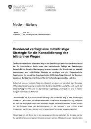 Medienmitteilung Bundesrat verfolgt eine mittelfristige Strategie für ...