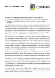 Antrag auf Marktzulassung für DermaPro® in Indien ... - CytoTools AG