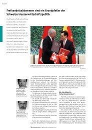 Freihandelsabkommen sind ein Grundpfeiler der Schweizer ...