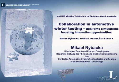 Collaboration in automotive winter testing, Real-time ... - IFIP