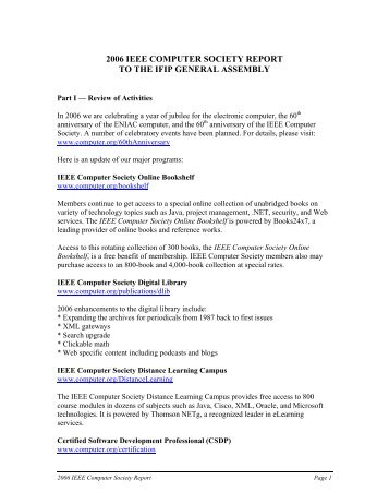 2006 ieee computer society report to the ifip general assembly