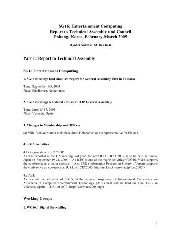 SG16: Entertainment Computing Report to Technical ... - IFIP