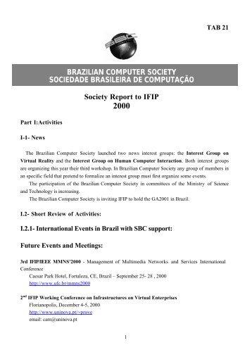 BRAZILIAN COMPUTER SOCIETY SOCIEDADE BRASILEIRA ... - IFIP