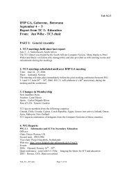 IFIP GA, Gaborone, Botswana September 4 – 5 Report from TC 3 ...