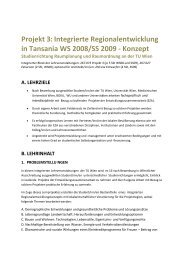 Projekt 3:Integrierte Regionalentwicklung in Tansania WS ... - IFIP