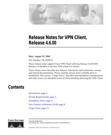 Release Notes for VPN Client, Release 4.6.00