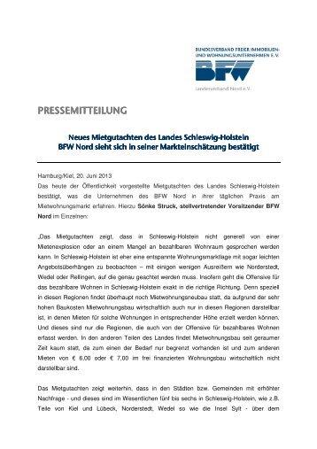 BFW Nord Pressemitteilung Neues Mietgutachten Schleswig-Holstein