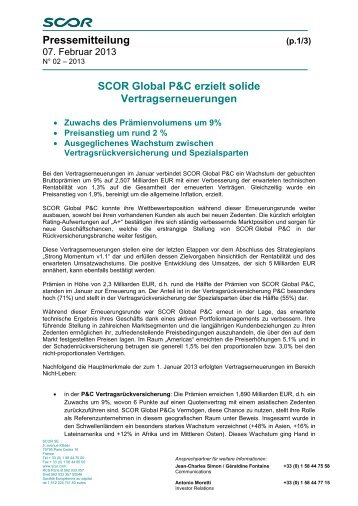 Pressemitteilung SCOR Global P&C erzielt solide ...