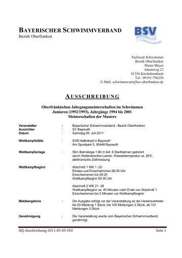 BAYERISCHER SCHWIMMVERBAND - IFL-Hof Schwimmen