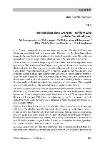 Bibliotheken ohne Grenzen - Die IFLA in Deutschland