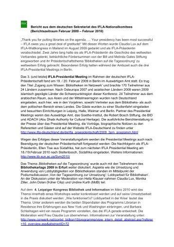 Bericht des deutschen IFLA-NK 2009 - 2010 - Die IFLA in Deutschland