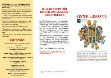 Sister libraries' (in deutscher Sprache) - Die IFLA in Deutschland