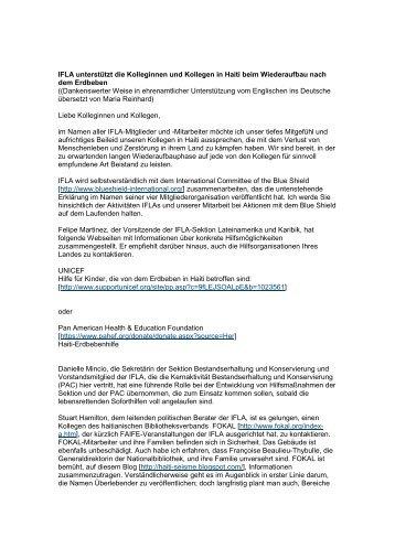 IFLA Haiti 2010 - Die IFLA in Deutschland