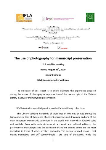 The use of photography for manuscript preservation - IFLA
