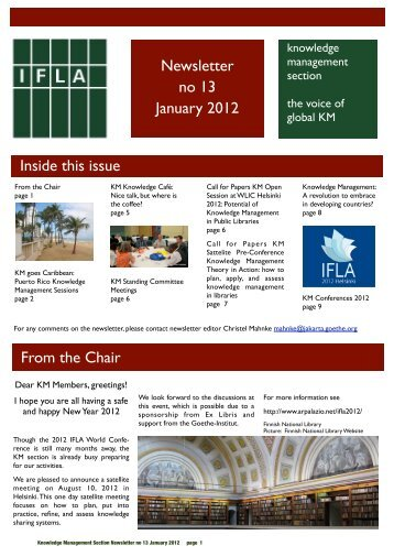 January: Issue Number 13 - IFLA