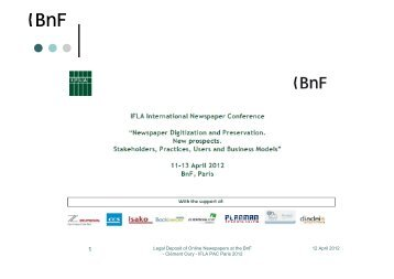 12 April 2012 Legal Deposit of Online Newspapers at the BnF ... - IFLA