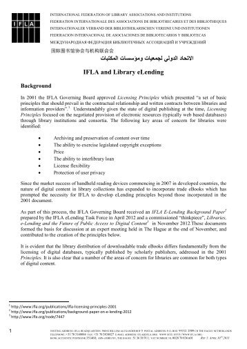 IFLA Principles for Library eLending