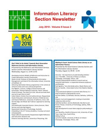 Information Literacy Section Newsletter - IFLA