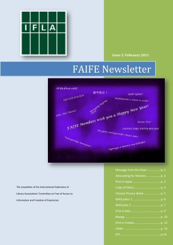 February 2011 FAIFE Newsletter - IFLA