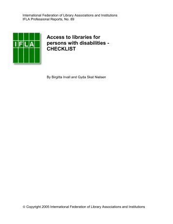 Access to libraries for persons with disabilities - CHECKLIST - IFLA
